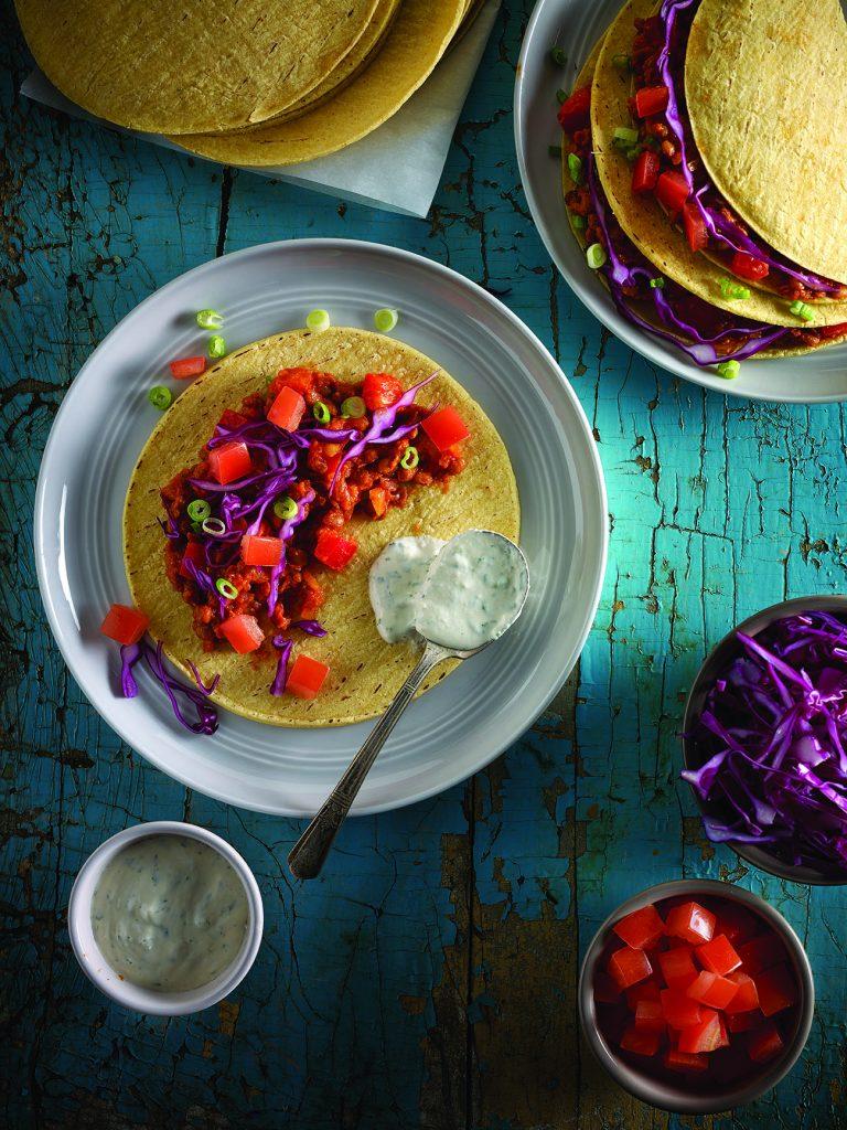 tacos aux lentilles sauce à la lime